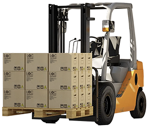 forklift with pallet of refill jugs